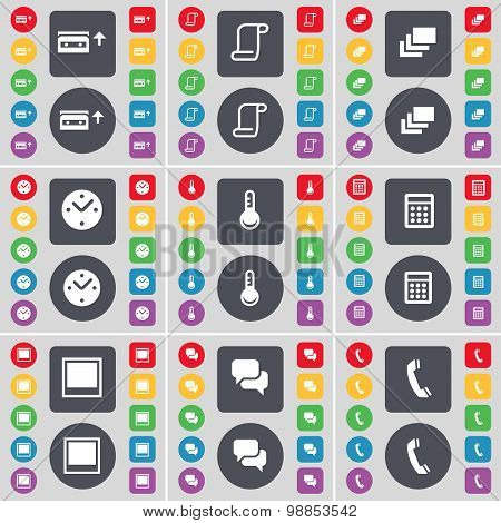 Cassette, Scroll, Gallery, Clock, Thermometer, Calculator, Window, Chat, Receiver Icon Symbol. A Lar