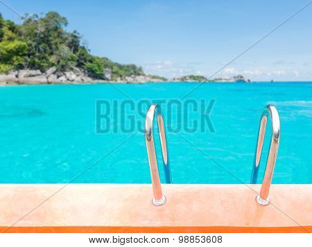 Swimming Pool Stair Over Sea Background