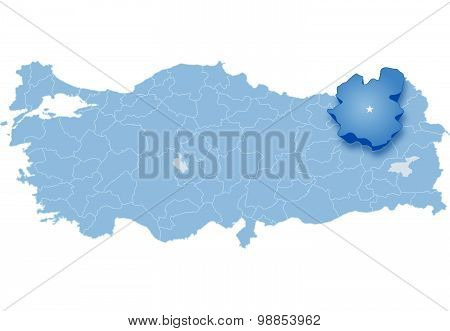 Map Of Turkey, Erzurum