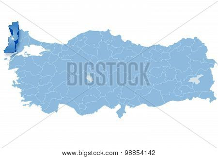 Map Of Turkey, Edirne