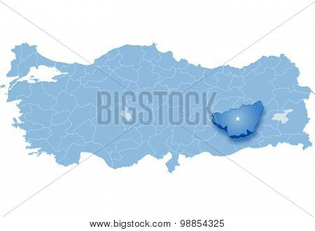 Map Of Turkey, Diyarbakir