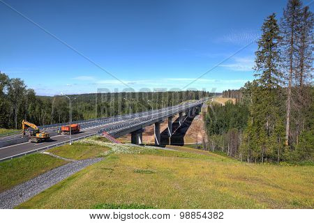 New, Modern Road Steel Bridge On Concrete Piers, Under Construction.
