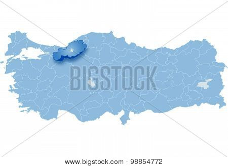 Map Of Turkey, Bolu