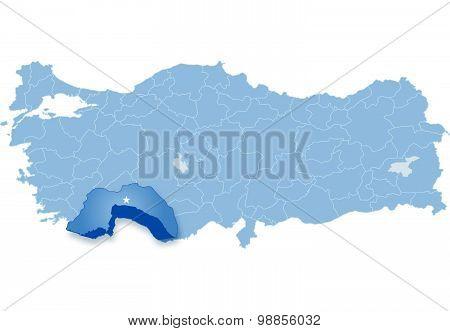 Map Of Turkey, Antalya