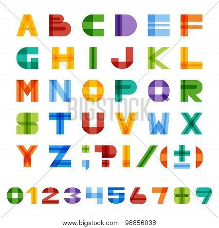 Geometric Half-transparent Square Colorful English Alphabet , Numbers And Punctuation Marks