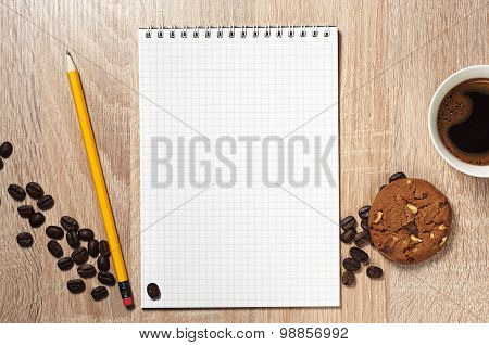 Notepad, Coffee And Cookie