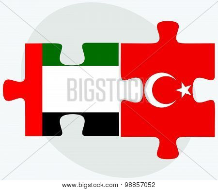 United Arab Emirates And Turkey Flags