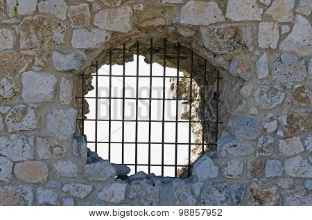 Grilled Hole In The Wall Of The Jail