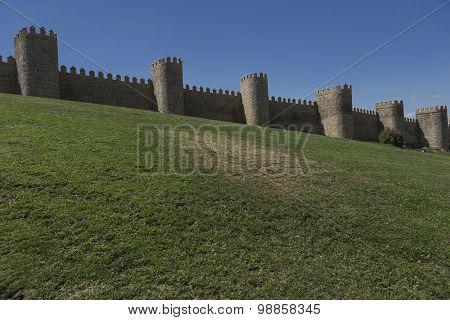 View Walls Of Avila City In Spain