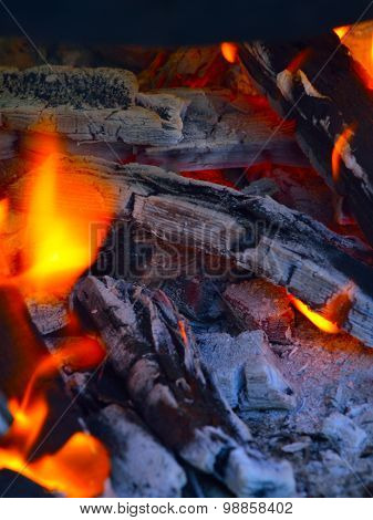 Closeup Of Pile Of Wood Burning With Flames. Fire.