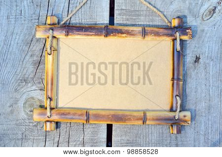 Bamboo Frame  On The Village Background