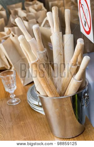 Rolling Pins Are In The Bucket In The Kitchen