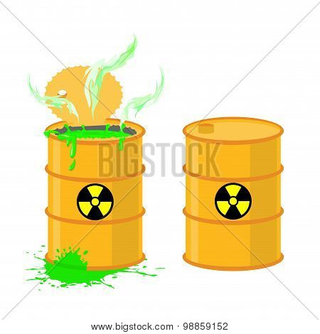 Barrel Of Acid. Vector Illustration Open Drums With Dangerous Green Liquid.