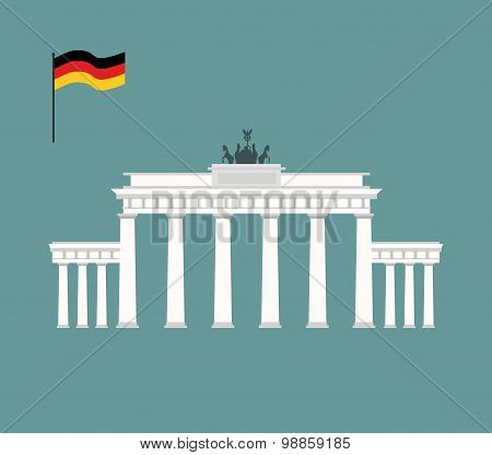 Brandenburg Gate In Berlin. Landmark Of Germany. Architecture Attraction Of  Country. Vector Illustr