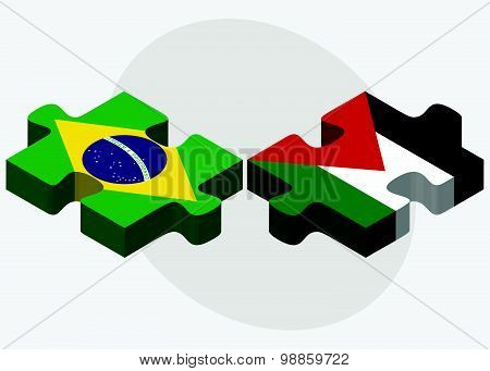 Brazil And Palestine Flags