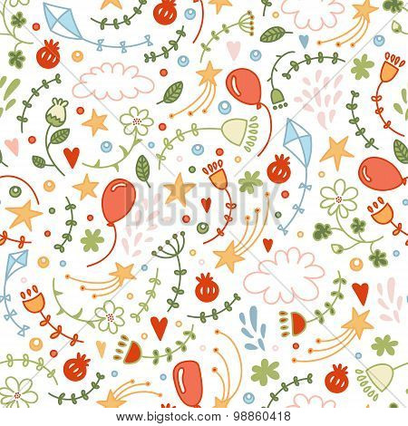 Vector Seamless Doodle Floral Pattern. Good Ornamental Hand Drawn Background With Flowers And Stars