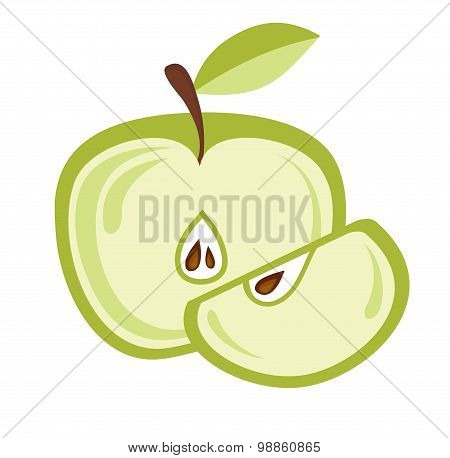 sliced apples isolated on white