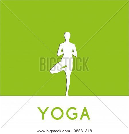 Yoga poster. Linear, flat yoga illustration.