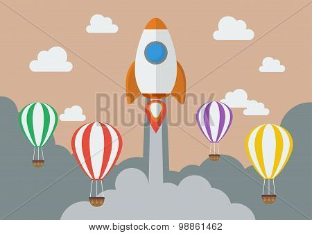 Rocket Launching Over The Hot Air Balloons