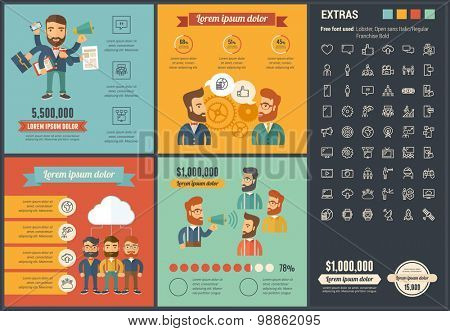 Social Media infographic template and elements. The template includes illustrations of hipster men and huge awesome set of thin line icons. Modern minimalistic flat vector design.