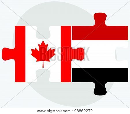 Canada And Yemen Flags