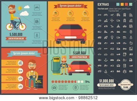 Transportation infographic template and elements. The template includes illustrations of hipster men and huge awesome set of thin line icons. Modern minimalistic flat vector design.