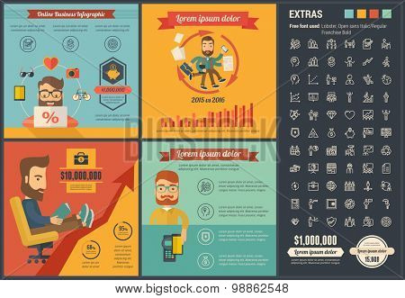 Online Business infographic template and elements. The template includes illustrations of hipster men and huge awesome set of thin line icons. Modern minimalistic flat vector design.