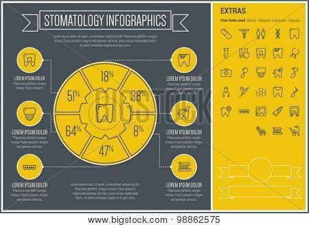 Stomatology infographic template and elements. The template includes the following set of icons - toothbrush, toothpaste, dentist chair, healthcare, specialist, basin and more. Modern minimalistic