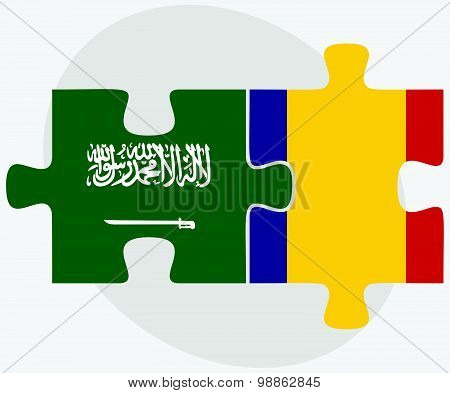 Saudi Arabia And Romania Flags