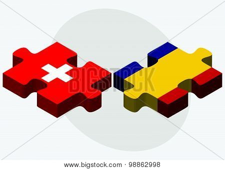 Switzerland And Romania Flags