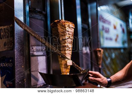 Cutting Doner Meat In A Street Restaurant In Istanbul