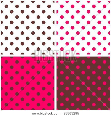 Tile white, pink and brown vector pattern set with polka dots