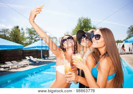 Attractive young girls are resting on vacation