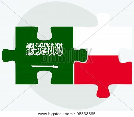 Saudi Arabia And Poland Flags