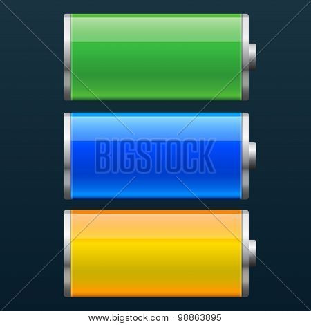 Set of battery charge status vector illustration