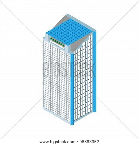 flat 3d isometric skyscraper. business center. solar panels on the roof and two elevators. Isolated