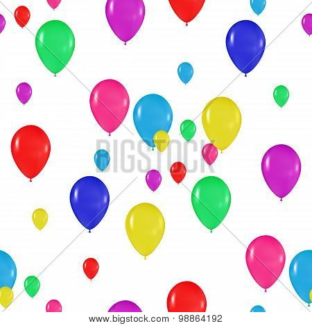 Pattern Of Colorful Balloons In The Style Of Realism. To Design Cards, Birthdays, Weddings, Fiesta,