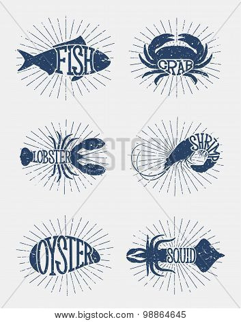 Typographic Sea Enimals Icons And Labels