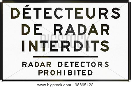 Radar Detectors Prohibited In Canada