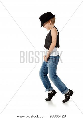 Dancing boy isolated on white
