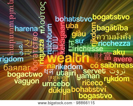 Background concept wordcloud multilanguage international many language illustration of wealth glowing light