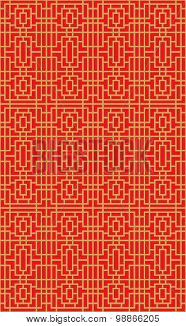 Golden seamless Chinese window tracery lattice geometry square line pattern background.