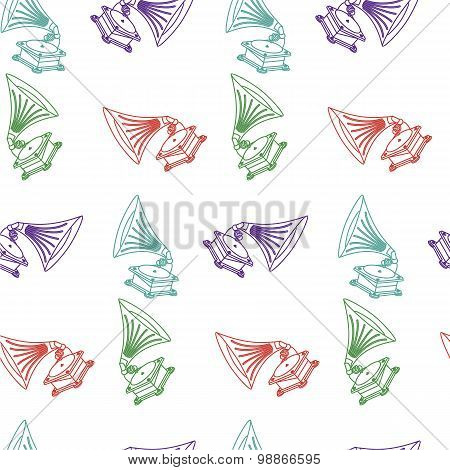 Vector Seamless Hand-drawn Pattern With Old Gramophone