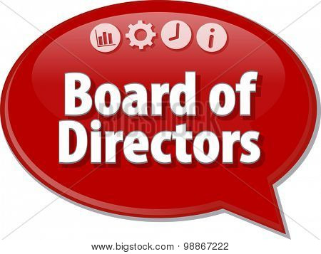 Speech bubble dialog illustration of business term saying Board of Directors