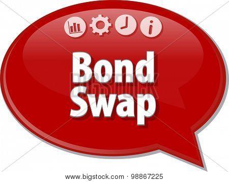 Speech bubble dialog illustration of business term saying Bond Swap