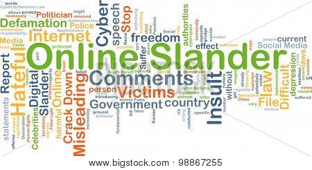 Background concept wordcloud illustration of online slander