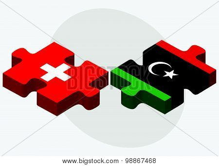 Switzerland And Libya Flags