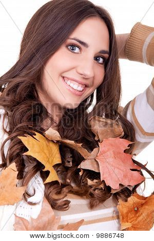 Autumn Woman With Leaves