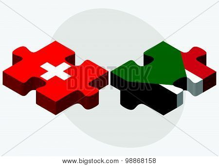 Switzerland And Sudan Flags