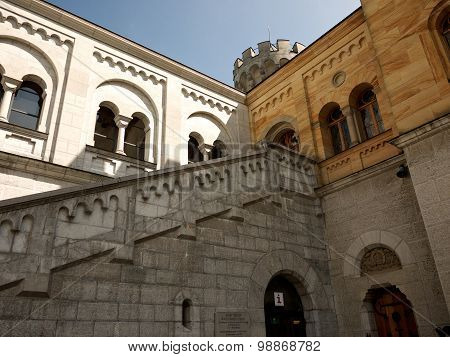 Detail of building in the court of Neuschwanstein Castle